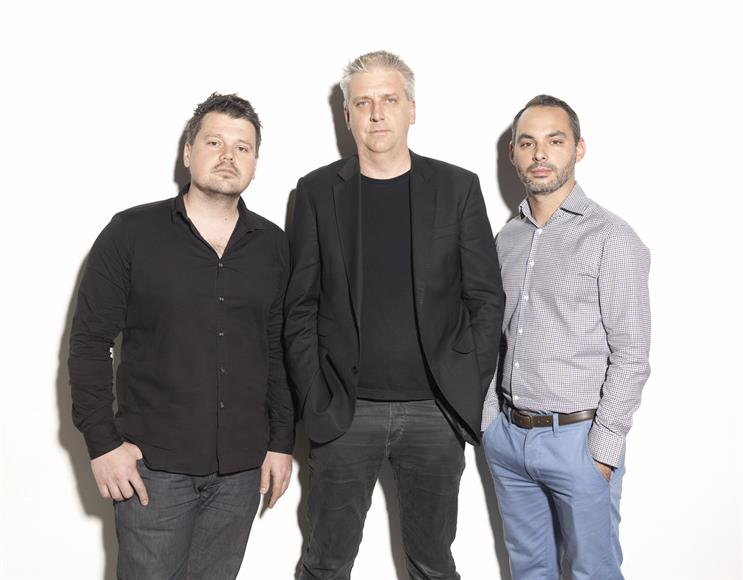 Trimble (far right) with Ben Colman (middle) and with Dejan Rasic (left)