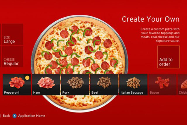 Pizza Hut: app allows gamers to place orders via their Xbox consoles