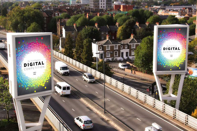 Ocean Outdoor: the Two Towers display on the A4