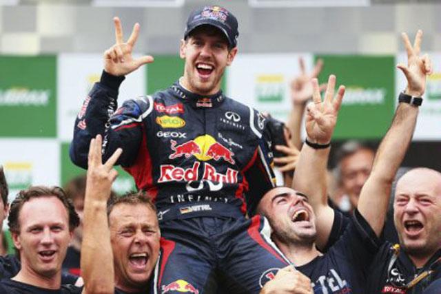 Sebastian Vettel: Red Bull driver celebrates winning the F1 championship in Brazil