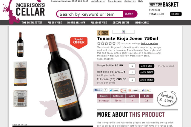 Morrisons: rolls out online wine cellar