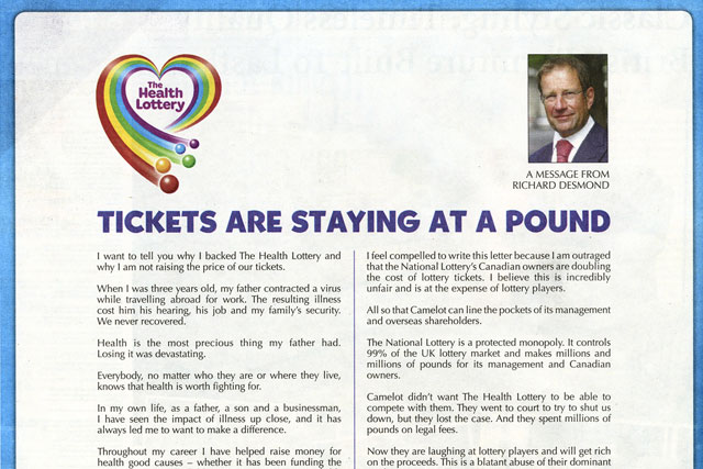 The Health Lottery: Richard Desmond prints full page ads