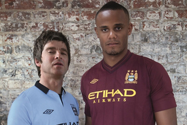 Noel Gallagher and Manchester City's Kompany unveil new Umbro kits