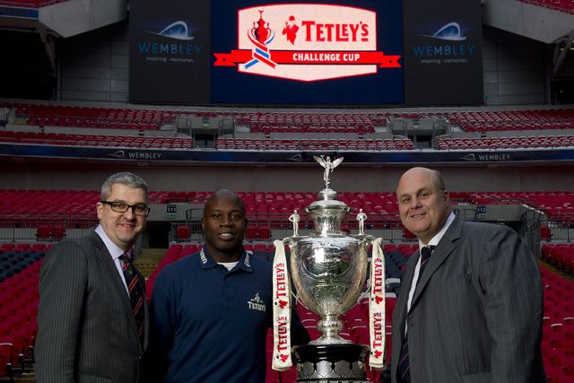 Tetleys sponsorship: Carlsberg's UK communications director Bruce Ray, former player Martin Offiah and Nigel Wood, chief executive of the RFL