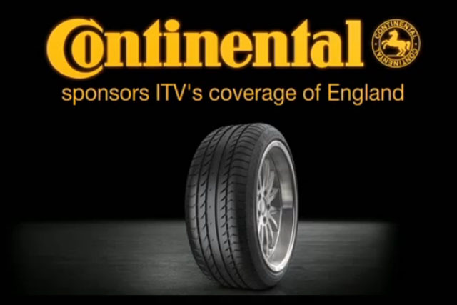 Continental Tyres: to sponsor Ithe ITV coverage of England's football fixtures in 2013