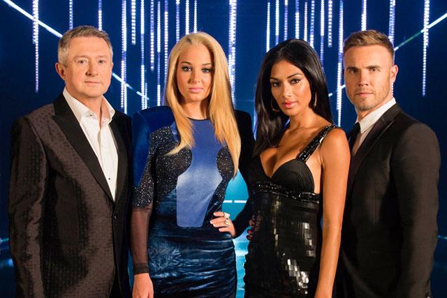 The X Factor judges: Louis Walsh, Tulisa Contostavlos, Nicole Scherzinger and Gary Barlow