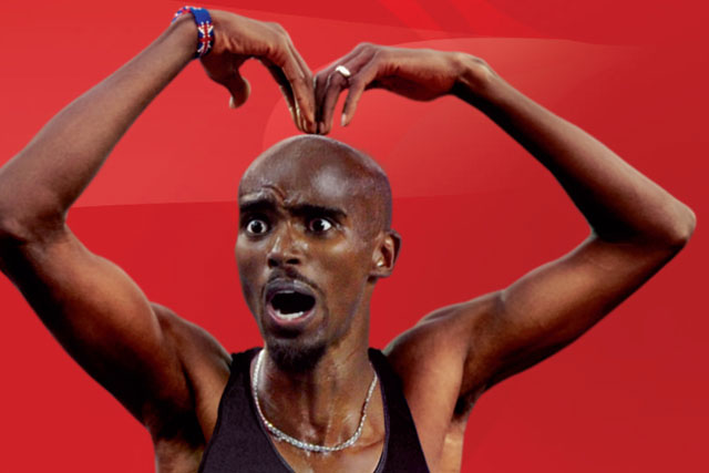 Mo Farah: celebrates with his Mobot in Virgin Media ad
