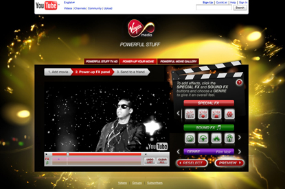 Virgin Media's YouTube application allows consumers to add special effects to their videos
