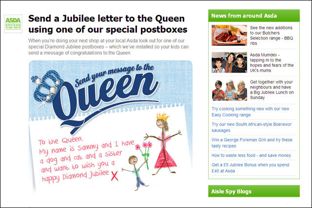 Asda: invites customers to write messages to the Queen
