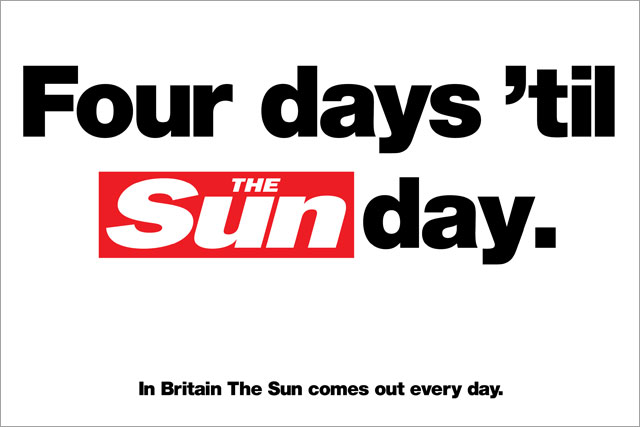 The Sun: rolls out Sunday paper press ads