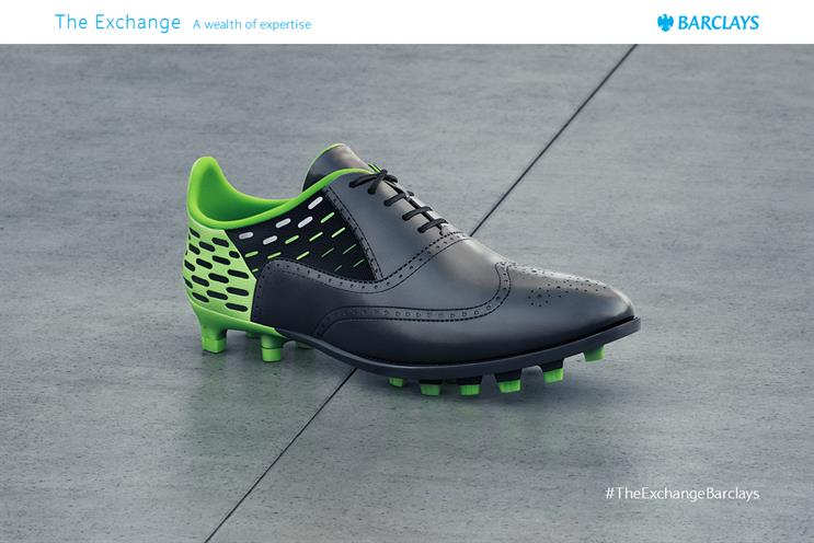 Barclays: ad uses a shoe that is half boot, half Brogue