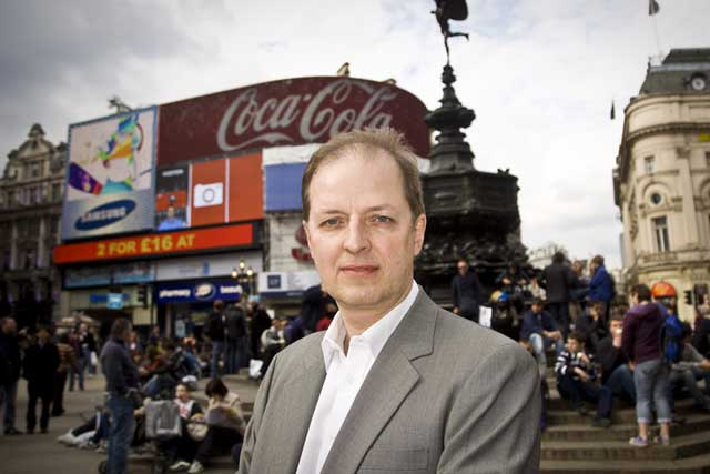 OMC's Mike Baker outside Piccadilly Circus
