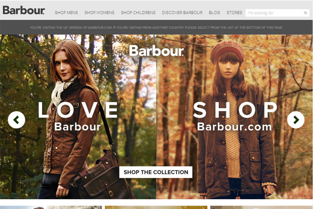 Barbour: launches ecommerce site