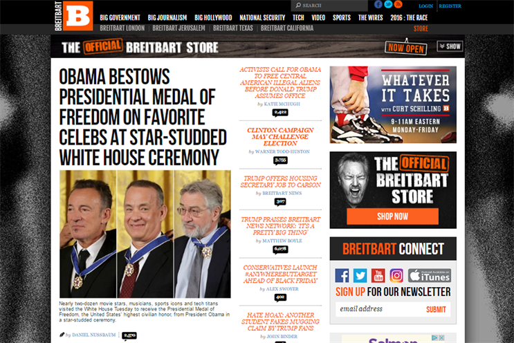 "Breitbart: features sections on ""big government"" and ""big journalism"""