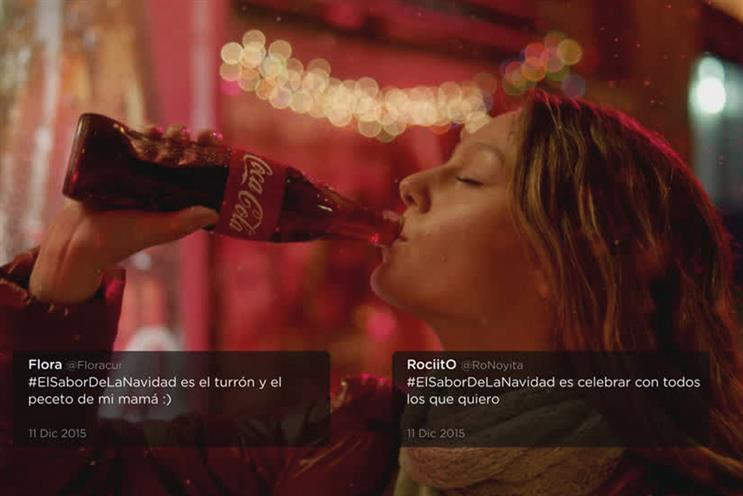 Coke aired dozens of TV ads with different social media messages each day during a campaign in Argentina before Christmas