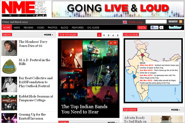 NME: rolls out India website