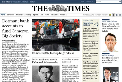 Times' websites: visits down by two-thirds since operation of paywalls
