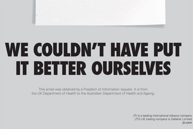 Gallaher ad: questions whether plain cigarette packaging is deemed effective