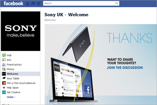 Sony UK: hires Cake to manage Facebook profile