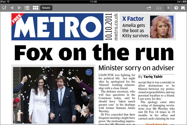 Metro: launches interactive newspaper on the iPad