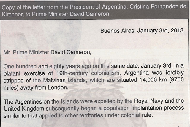 Argentine ad: the country's president appeals to David Cameron over the Falklands