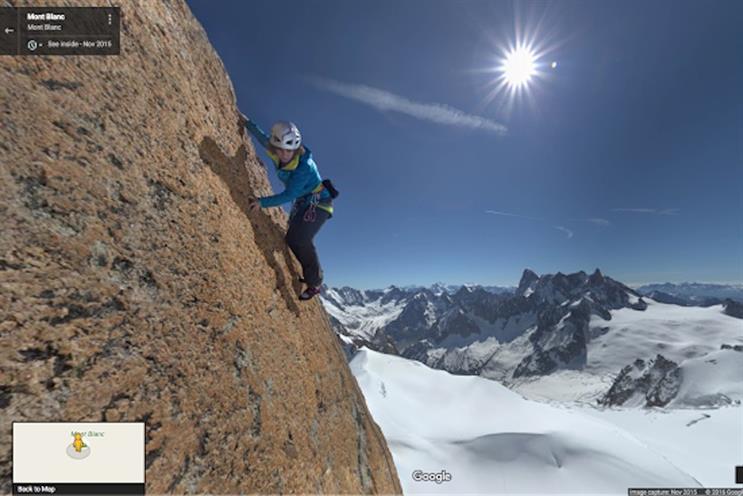 French climber Catherine Destivelle ascending near the Aiguille du Midi