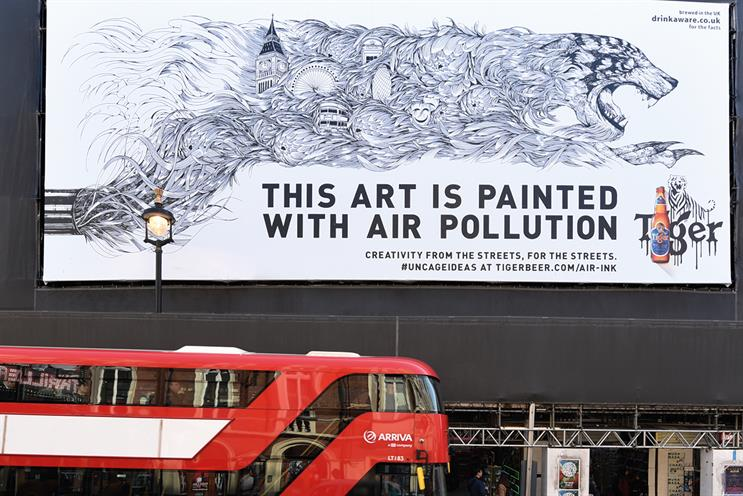 Tiger: poster on Shaftesbury Avenue was created using Air-Ink