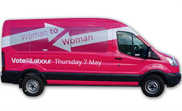 """Labour's pink """"woman to woman"""" bus"""