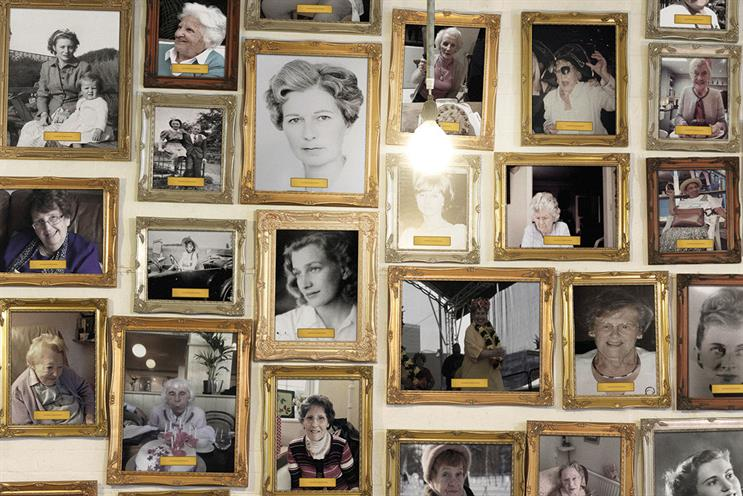 Grandmother: reception wall has been filled with photos of employees' grandmothers