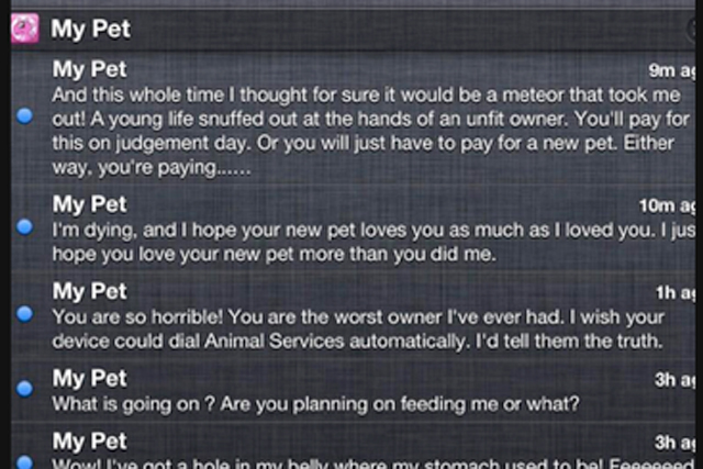 My Pet: sent messages to a nine-year-old girl