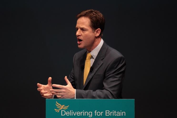 Nick Clegg: the Lib Dem leader delivered today's election manifesto