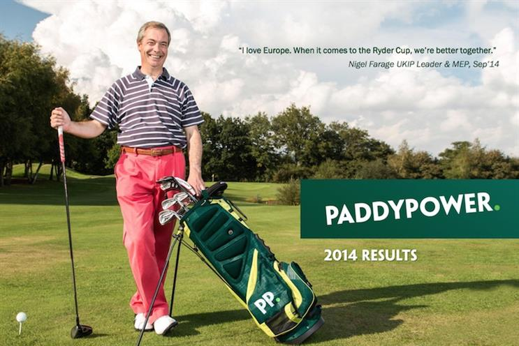 Paddy Power's Ryder Cup campaign, featuring Nigel Farage, is on its financial results cover
