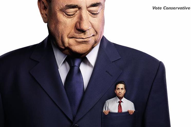 Attack ad showing Boris in Farage's pocket held back