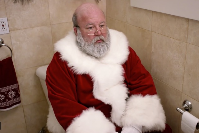 Santa: sitting on the loo in an ad for Poo-Pourri