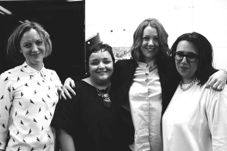 The speakers comprised (l-r): Eloise Smith, the executive creative director of Lowe Profero; Vicki Maguire, a deputy ECD of Grey London; Caroline Pay, the deputy ECD at Bartle Bogle Hegarty; and Chaka Sobhani, a creative director at Mother.