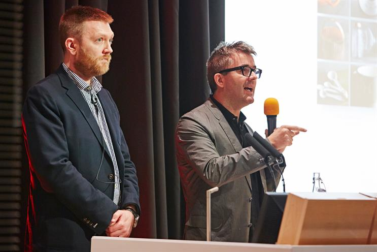 Shift 2014: Pearson (l) and Murphy discussed the role newsbrands play in John Lewis' marketing