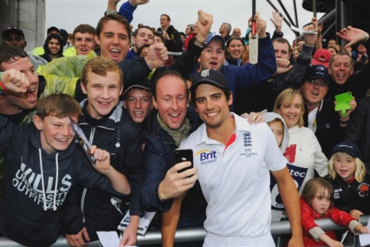 England captain Alastair Cook with fans: Sky is asking supporters to post UGC via social media
