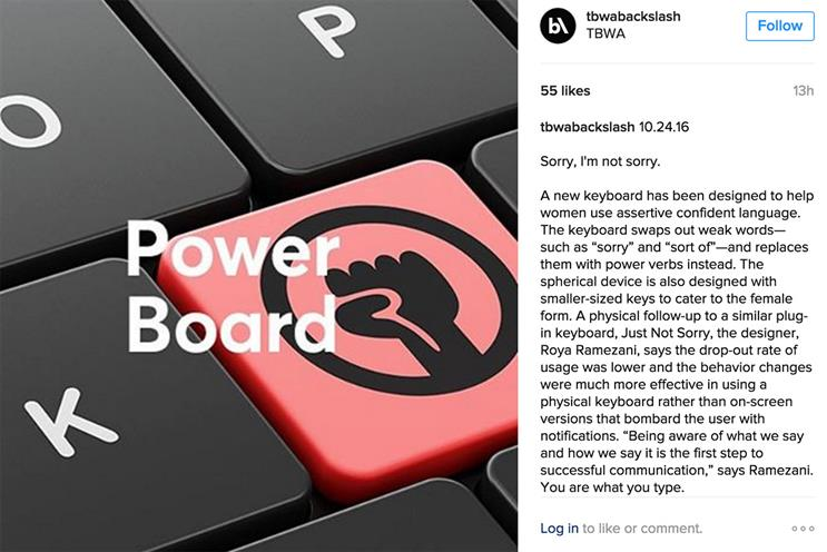 TBWA publishes insight and trends content on Instagram using @tbwabackslash