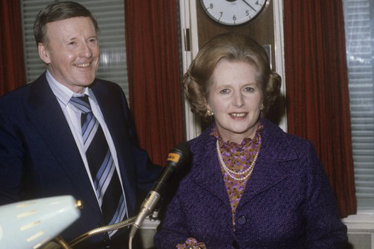 Margaret Thatcher on a tour of the BBC in 1980
