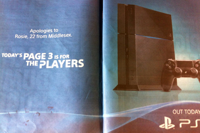The Sun: PlayStation 4 ad bumps page three pin-up to page five today