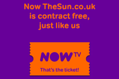 Now TV: launches campaign with The Sun