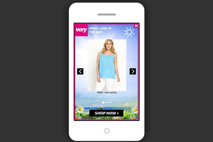Very.co.uk: the online retailer has launched weather-targeted ads