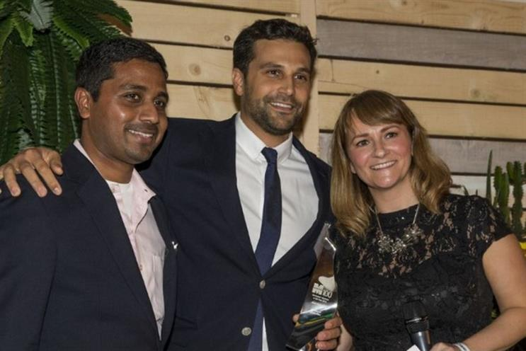 Arnd Pickhardt (centre) receiving the Marketers' Marketer of the Year award from Marketing's Rachel Barnes and Sapient Nitro's Nigel Vaz
