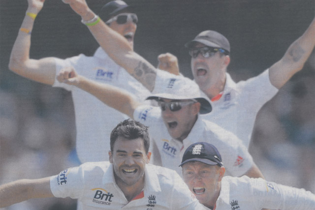 Jaguar: print ad features members of the victorious England cricket squad