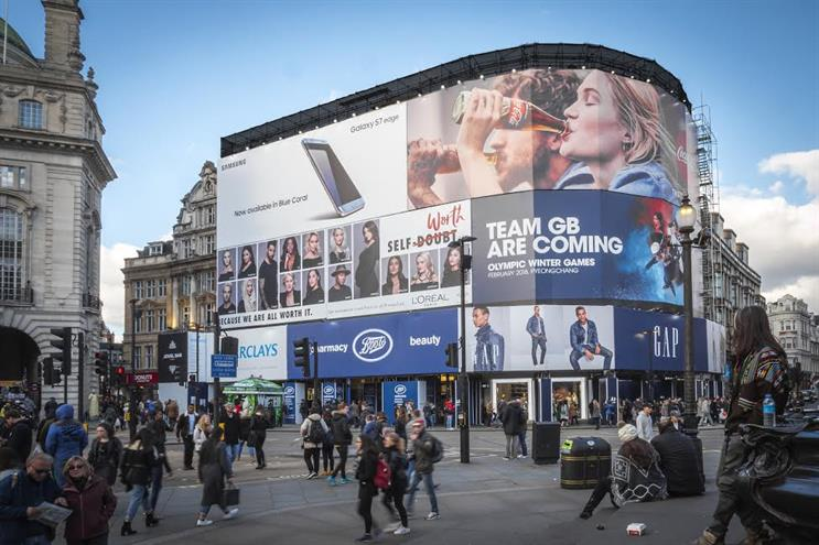 Piccadilly Circus: a temporary banner will cover the site during construction