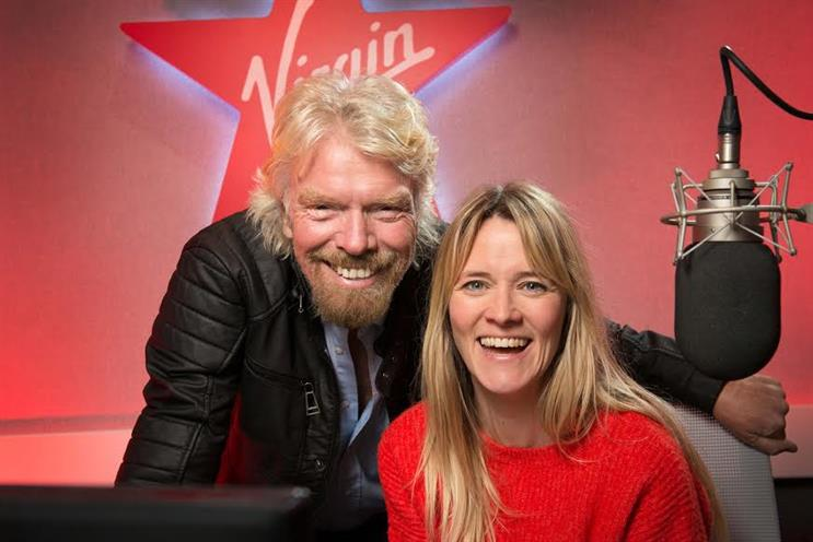 Virgin Radio is back: Sir Richard Branson with breakfast presenter Edith Bowman