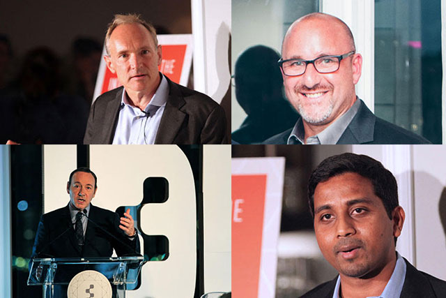 Participants at Idea Exchange 2014 included (clockwise from top left) Berners-Lee, Kanarick, Vaz and Spacey
