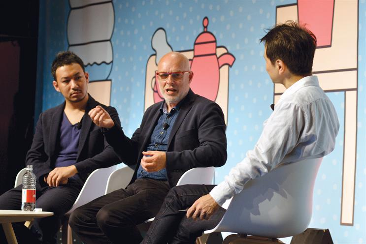Brian Eno: told Togo Kida (left) and Koichi Yamamoto (right) that he felt 'numbingly bored' with ordinary music videos and needed their help to create a new concept for his latest project, The Ship