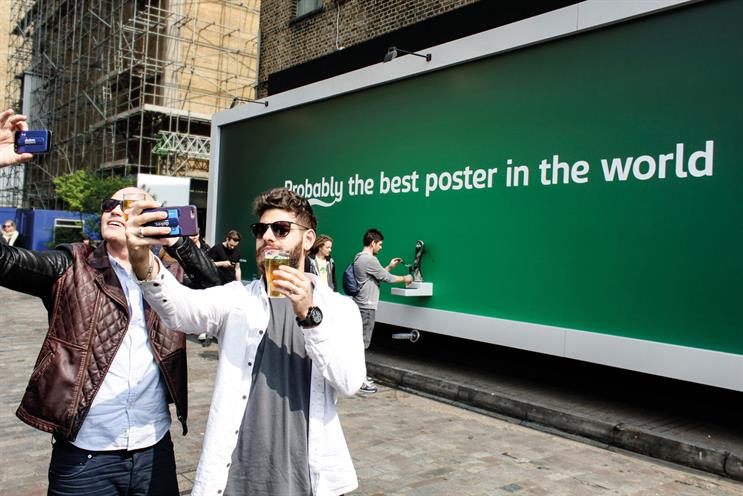 """The beer-dispensing poster was placed in the Truman Brewery and treated like a pop-up, live for only six hours"""