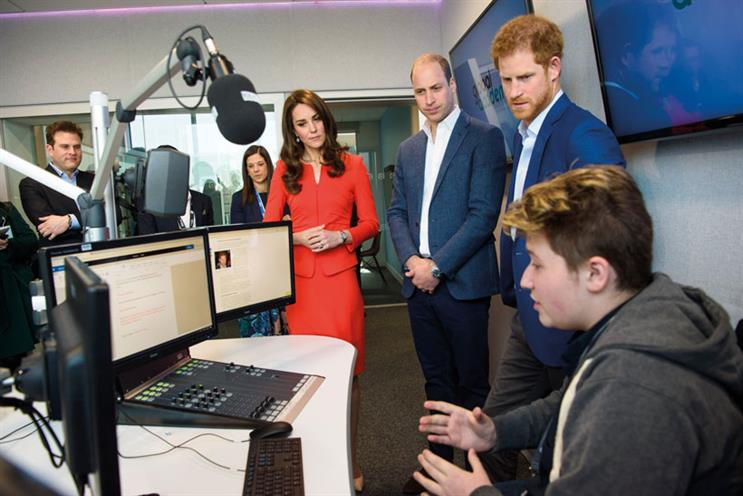 Global Academy: Tabor (left) visited with the Duke and Duchess of Cambridge and Prince Harry